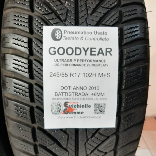 245/55 R17 102H M+S Goodyear Ultragrip Performance (UG Performance 2) (Runflat) – 80% +6/7mm Gomme Invernali
