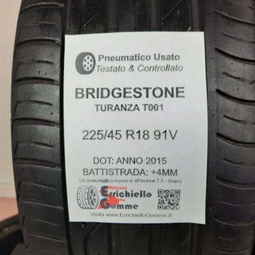 225/45 R18 91V Bridgestone Turanza T001  – 50% +4mm – Gomme Estive